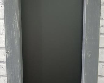 Solid wood chunky chalkboard finished in distressed elephant grey over light rain or duck egg distressed