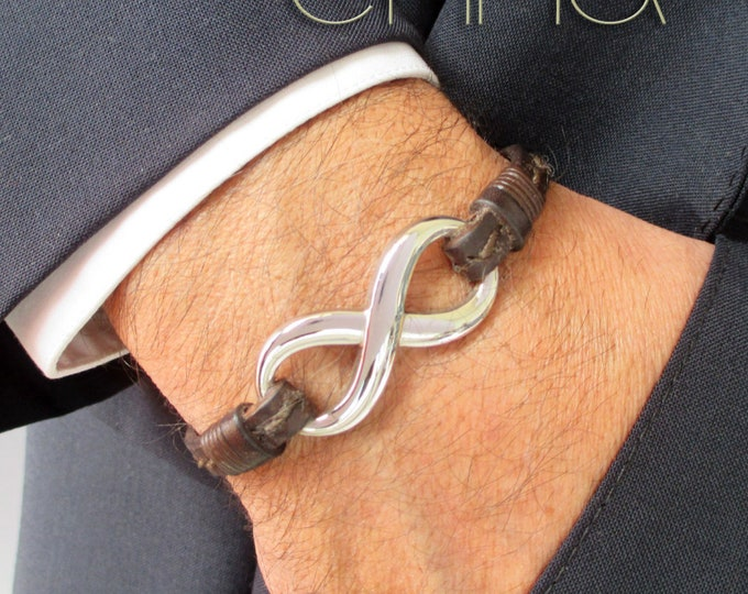Leather bracelet, infinity bracelet,infinity wristband, man gifts, stainless steel bracelet, leather accessories for man, brown wristband