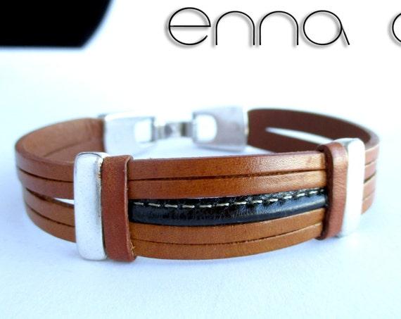 Man leatherbracelet, light brown bracelet, gift for him, men accessories, leather accessories, fashion bracelet,  handmade bracelet, gifts