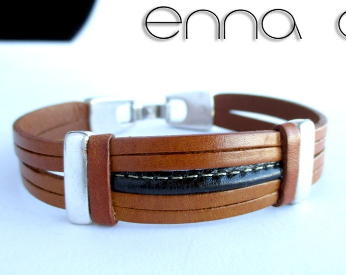Man leatherbracelet, light brown bracelet, gift for him, men accessories, leather accessories, fashion bracelet,  handmade bracelet, gifts