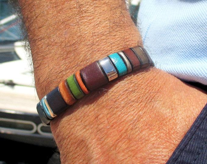 Blue leather bracelet, Enna Clasic N. 20, colors bracelet, gifts for him, men accessories, leather accessories, fashion bracelet, bracelets
