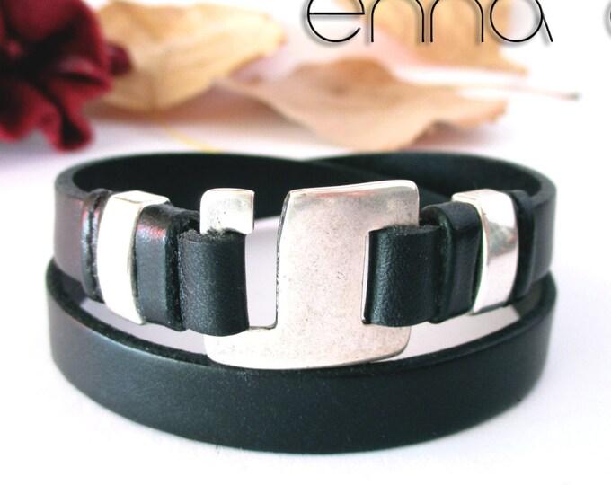 Double leather bracelet, N6, wrap wristbands, accessories for man, leather accessories, woman bracelets, unisex bracelets, black leather