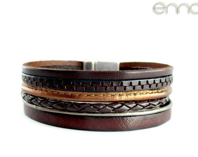 Brown leather bracelet, Leather wristband, birthday gift, man gift, exclusive design, leather accesories for man, father's day gift, present