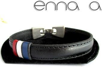 Black leather bracelet flag France