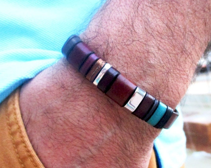 Brown Leather Bracelet, Enna Clasic 28, leather wristband, blue leather bracelet, colors wristband, men accessories, man gifts, bracelets