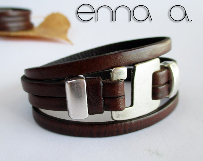 Double brown leather bracelets, brown leather bracelet, brown double bracelet, Leather wristbands, exclusive birthday gifts, mens gifts, N5,