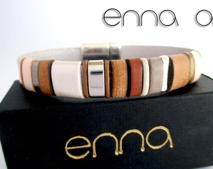Brown and white leather bracelet, Enna Clasic N. 12, leather bracelet, leather wristband, leather accessories, gift for her, man bracelet