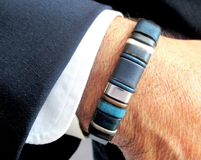 Blue leather bracelet, EC 14, genuine leather wristbands, mens bracelets, christmas gift, mens accessories, leather and silver bangles