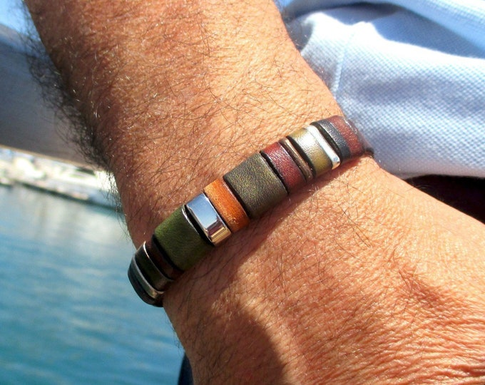 Brown leather bracelet, Enna Clasic N7, Colors bracelet, leather wristbands, leather accessories, man accessories, luxury articles, unisex
