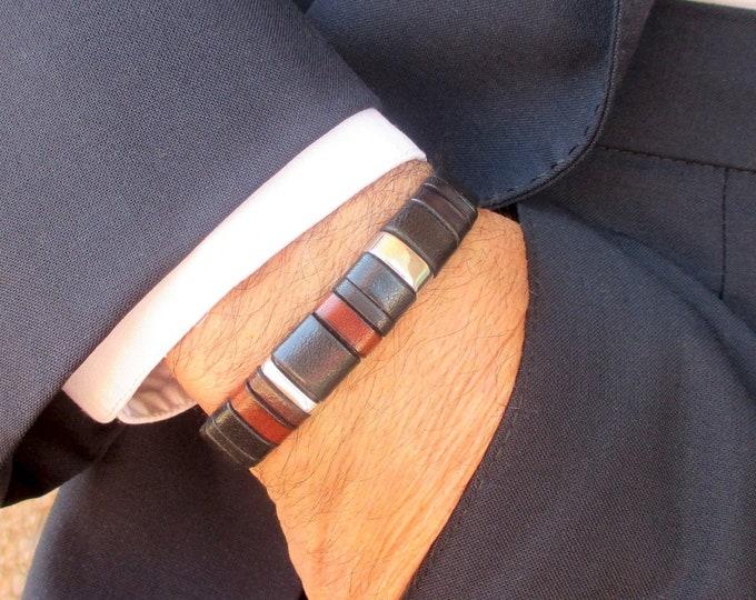 Black leather bracelet, Enna Clasic N. 31, custom leather accessories for men, gifts for men, handmade bracelet, fashion bracelet, luxe
