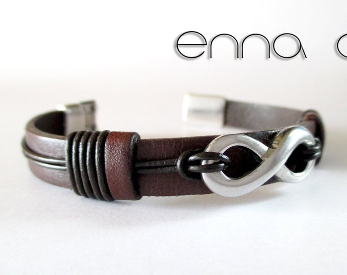 Infinity brown leather bracelet, leather wristband,  man bracelet, brown bracelet, birthday gift, leather accessories for men, man gifts