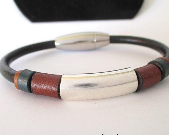 Black leather bracelet Nature N 1, Leather wristband, man gifts, brown bracelet, colors bracelet, man accessories, unisex bracelet