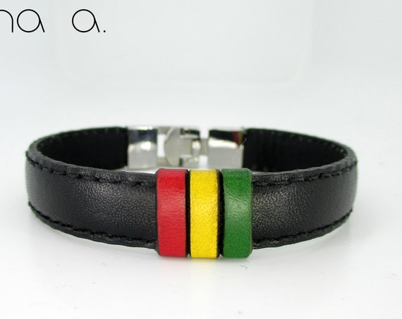 Rastafarian flag bracelet in black leather