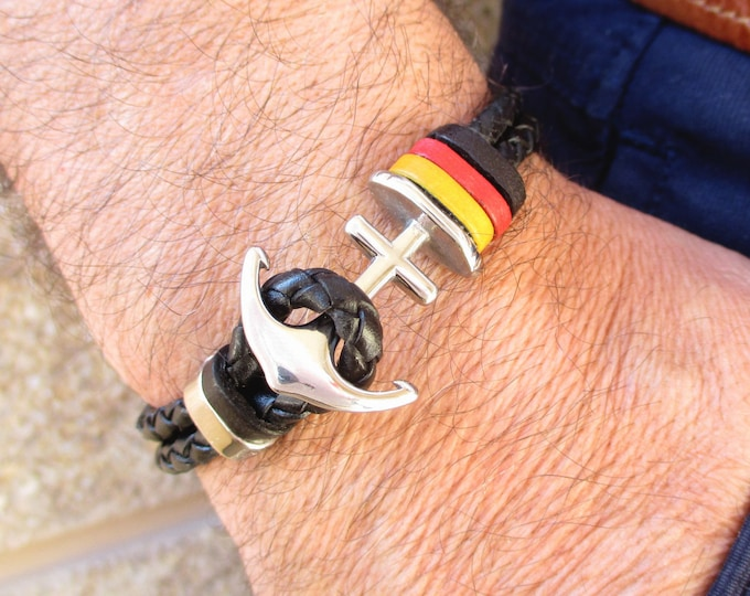 Black braided leather bracelet, Germany flag wristband, Anchor bracelet, mens exclusive gifts, mens accessories, brown leather bangles