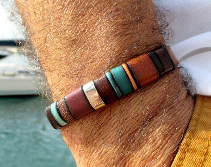 Brown leather bracelet, Enna clasic N27, colors bracelet, gifts for him, men accessories, leather accessories, fashion bracelet, bracelets