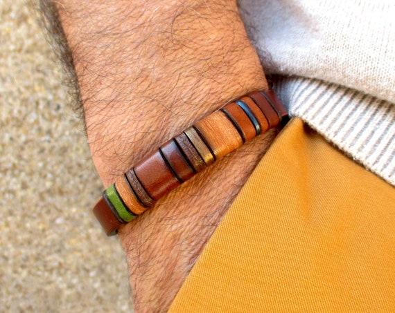 Brown leather bracelet EB-4, personalized gift man, birthday, anniversary, handmade accessory, unisex.
