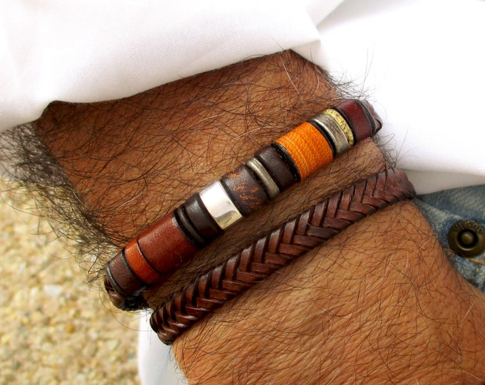 Brown genuine leather bracelet, leather and silver bracelet, leather wristband, boho accessories, Christmas gift for husband, male jewelry