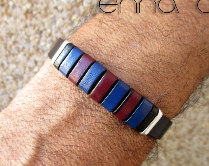 Barça bracelet, black leather bracelet, Barça fans, leatherman bracelet, birthday gift, man gift