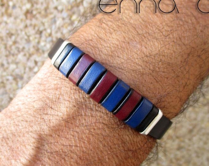 Barça bracelet, black leather bracelet, Barça fans, leatherman bracelet, birthday gift, man gift