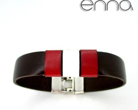 Brown leather bracelet, Peru flag, national flag, anniversary gift