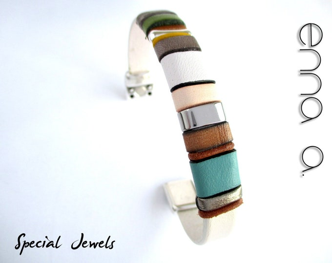 Colors leather bracelet, Enna Clasic N 15, unisex leather bracelet, mens accessories, leather accessories, gifts for her, handmade bracelet