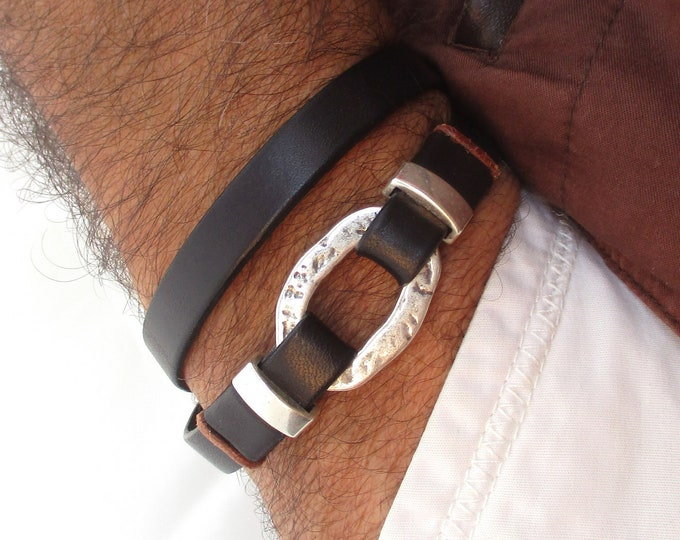 Double black leather men's bracelet, gift for him, fashion accessories, dad birthday, anniversary, personalized accessories