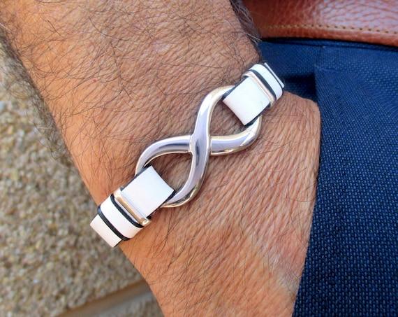 Infinity bracelet, infinite stainless steel and silver white leather bracelet, leather man bracelet, birthday gift, unisex gift, anniversary