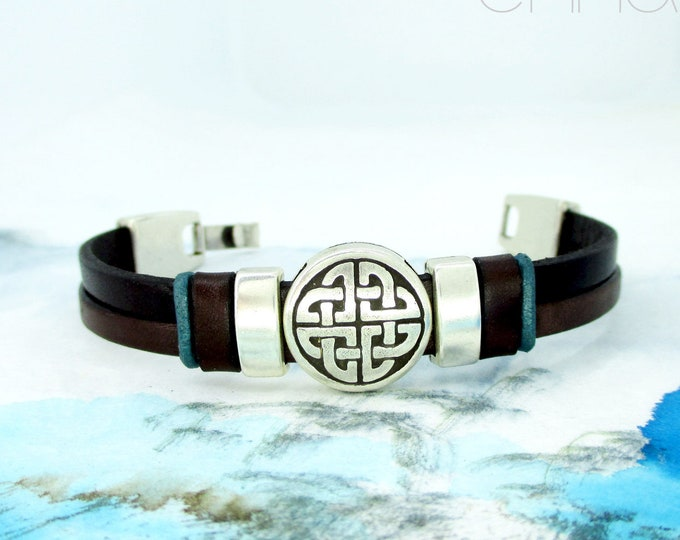 Black and brown leather bracelet, leather wristband, celtic bracelet, man gifts, men accessories, black wristband, leather bracelets, unisex