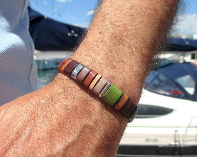 Brown, green, gold, vintage leather bracelet with silver and stainless steel, unisex, ideal gift EC22