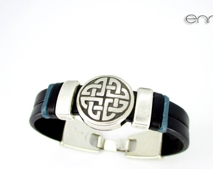 Black leather celtic bracelet, N 3, Leather wristband, birthday gift, man gift, men accessories, black wristband, personalized bracelets