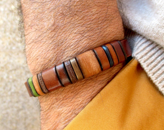 Brown leather bracelet EB-4, personalized gift man, birthday, anniversary, handmade accessory, unisex.