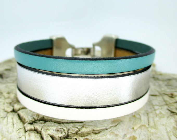 Blue leather bracelet, colorful leather wristband, leather bracelet, leather accessories, women's gifts, women's accessories, birthday gifts
