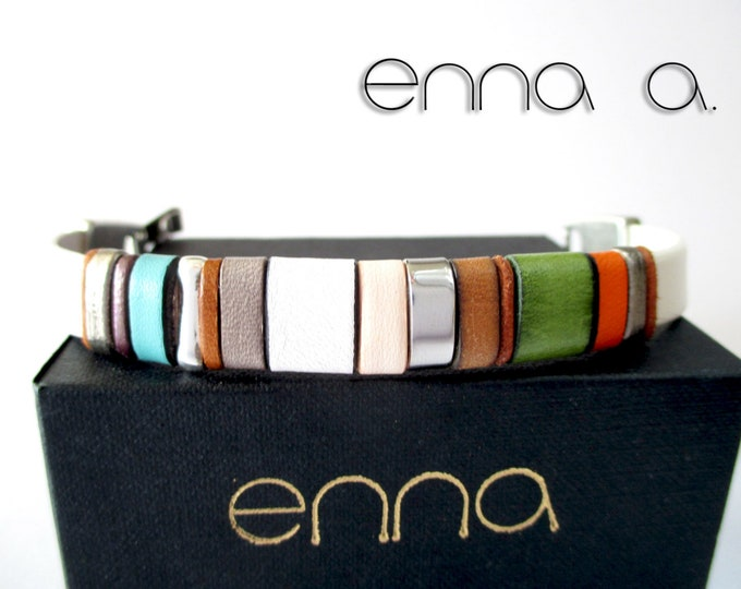 Bracelet white leather, Enna Clasic 17, leather wristband, colors bracelet, woman accessories, gift for woman, gift for man, unisex bracelet