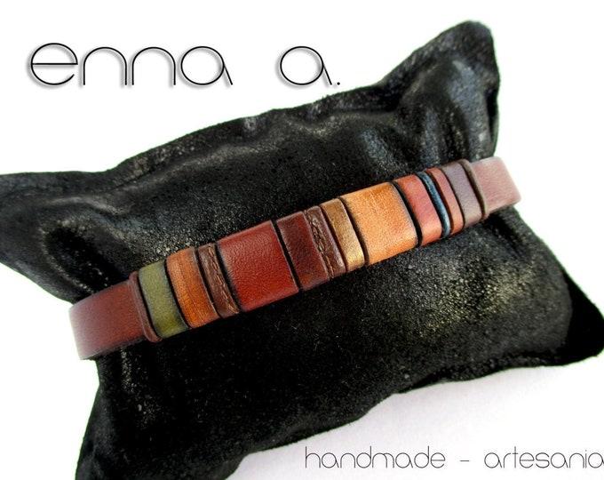 Brown leather bracelet, ENNA basic N.1, colors bracelet, leather bracelet, boho man accessories, craft bracelet, gift for him,  men jewelry