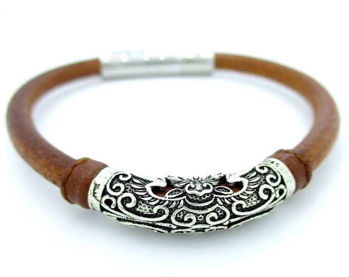 Brown and silver leather bracelet, silver bracelet, man bracelets, brown leather wristband, silver bracelet, leather accessories, wristbands