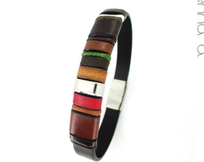 Brown leather bracelet, Enna Clasic N23, men wristband, man gift, exclusive designs, birthday gift, accessories for man, colors bracelet