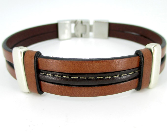 Brown leather bracelet, man bracelet, gifts for him, fashion bracelet, birthday gifts, handmade leather accesories, man accessories, gifts