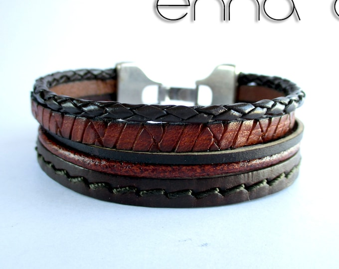 Braided leather bracelet, smooth, engraved and sewn brown