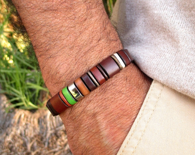 Brown leather bracelet, Enna Clasic 24, leather wristbands,  leather bracelets, accessories for man,  Luxury articles, unisex bracelets