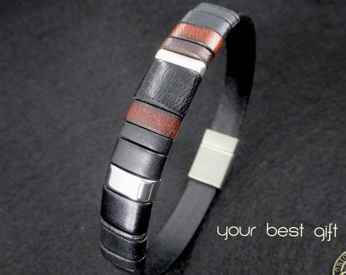 Black leather bracelet, Enna Clasic N. 25, custom leather accessories for men, gifts for men, handmade bracelet, fashion bracelet, luxe