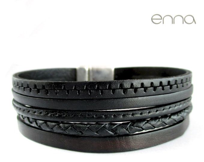 Black leather bracelet, smooth and sewn
