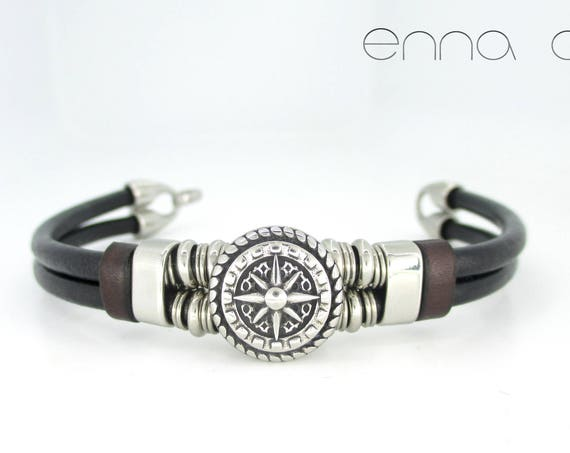 Black leather bracelet, compass rose bracelet, gifts for him, gifts for her, anniversary bracelet, leather accesories, birthday gift, unisex