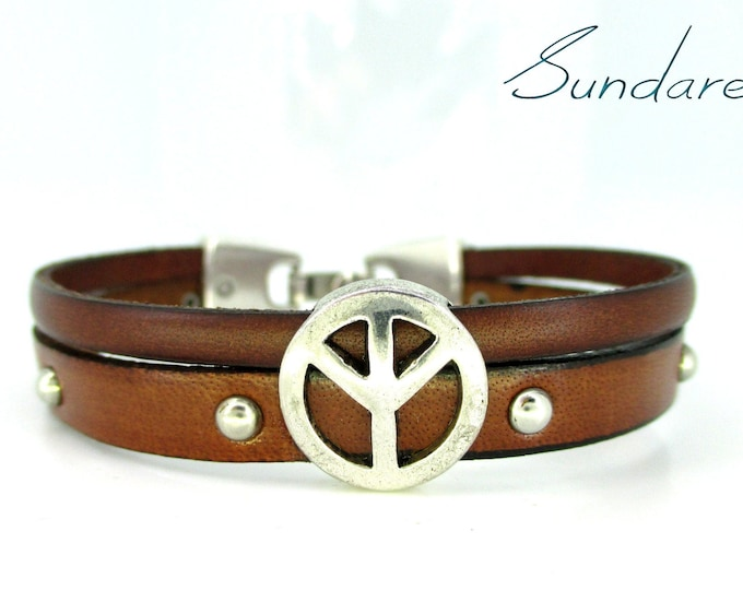 Brown leather bracelet Peace symbol, unisex bracelet, colorful bracelet, leather accessories, men's and women's gift, Women's bracelet