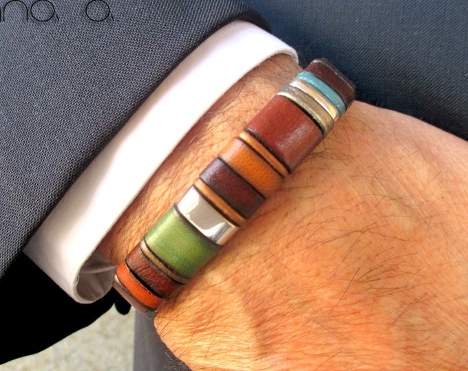 Dark brown leather bracelet, colorful bracelet, red, green, orange, black, blue, accessories gifts man, unisex, anniversary, wedding EC30
