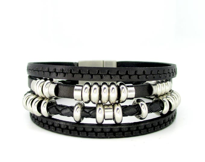 Black leather bracelet.