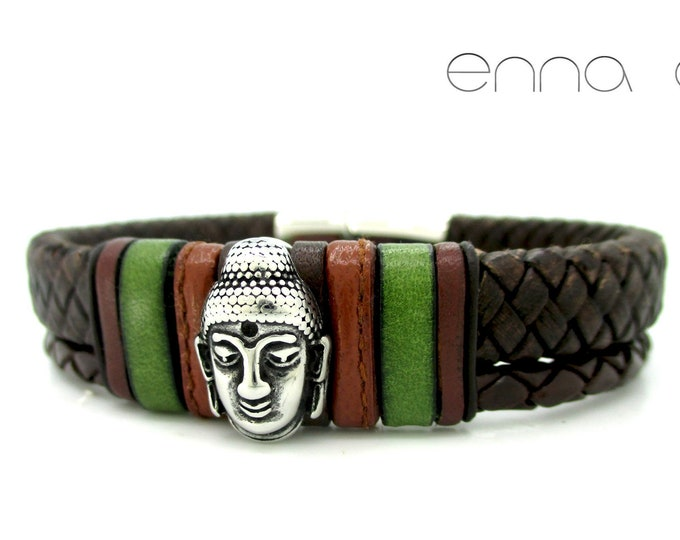 Brown braided bracelet, brown bracelet, Buddha bracelet, leather bracelet, man bracelet, leather accessories, boho accessories, man gifts