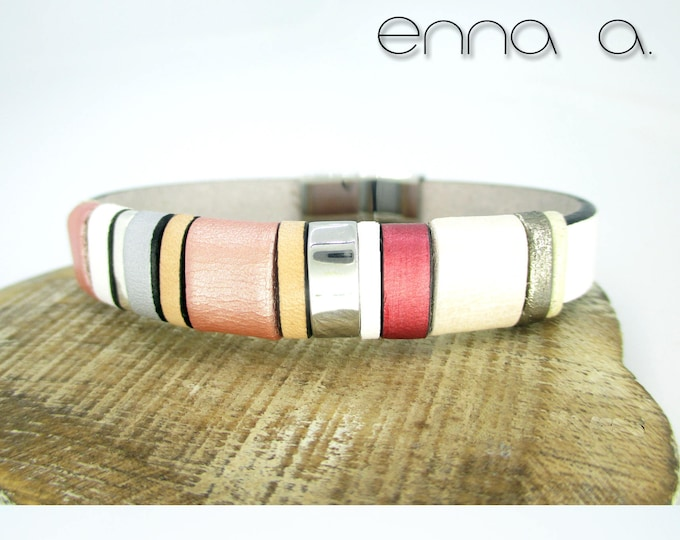 Leather bracelet, Enna Clasic Pink, leather accesories, jewelry, woman gift, leather wristband, leather and silver bracelet, brides gift