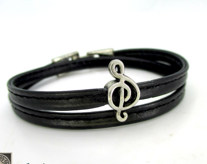 Sewed leather bracelet double treble clef