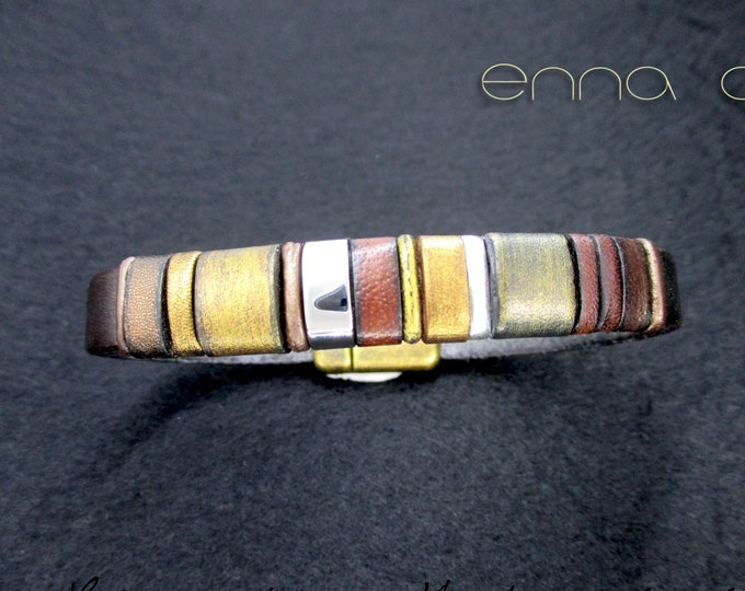 Leather bracelet, gold leather bracelet, leather bracelets, leather accessories, men's accessories, luxury items, EC26