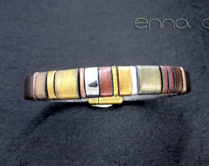 Leather bracelet, gold leather bracelet, leather bracelets, leather accessories, men's accessories, luxury items, EC26